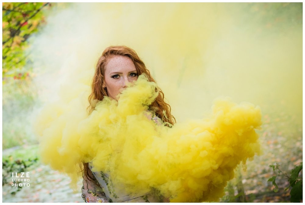 Yellow Smoke photo shoot  -  mystery in the woods
