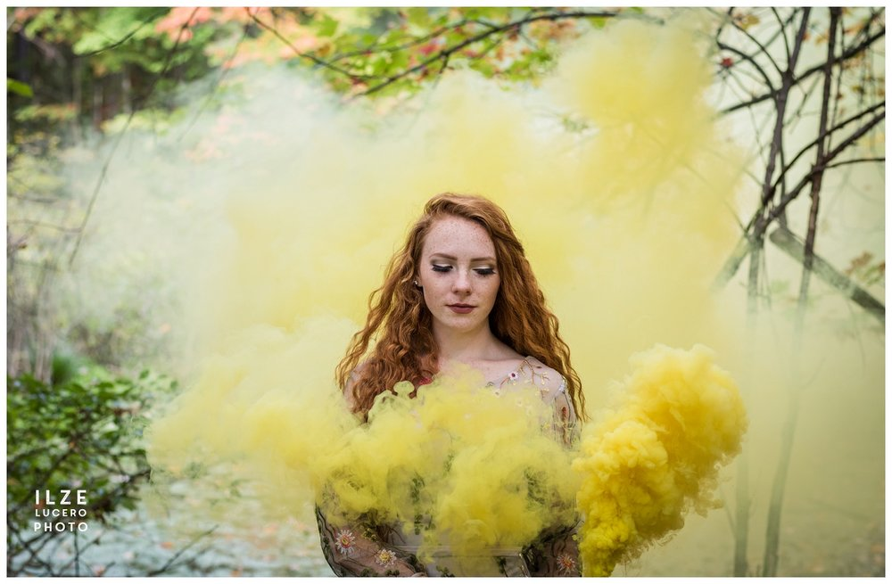 Smoke photo, beautiful red hair model
