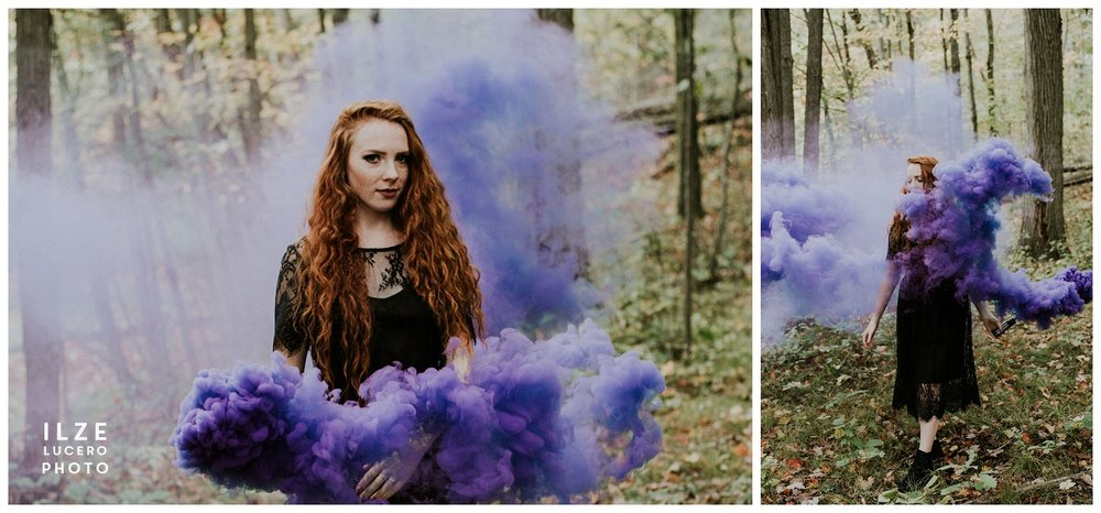 Purple blue smoke granade, magical photo shoot