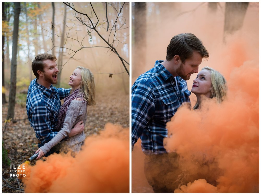Engagement Photos with smoke