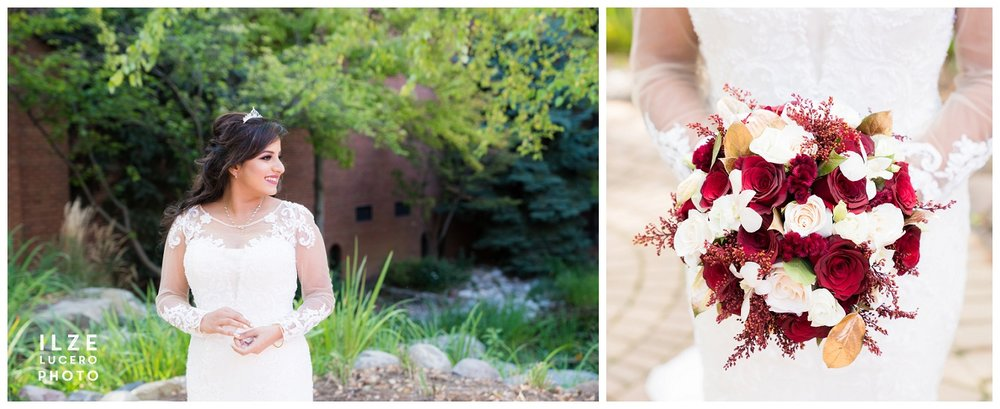 And bride looked radiant in the lovely wedding dress accented by bold reds in her flower bouquet