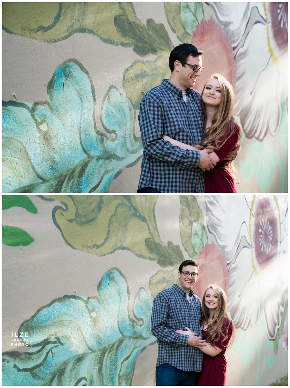 Engagement Photo shoot Flower Mural Detroit