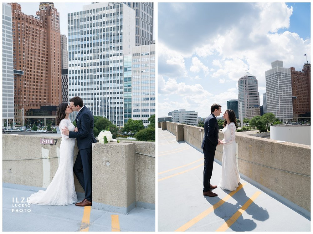 Detroit wedding photos - roof of parking lot