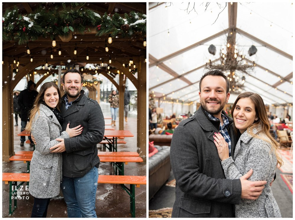 Cadillac Square winter engagement photo shoot