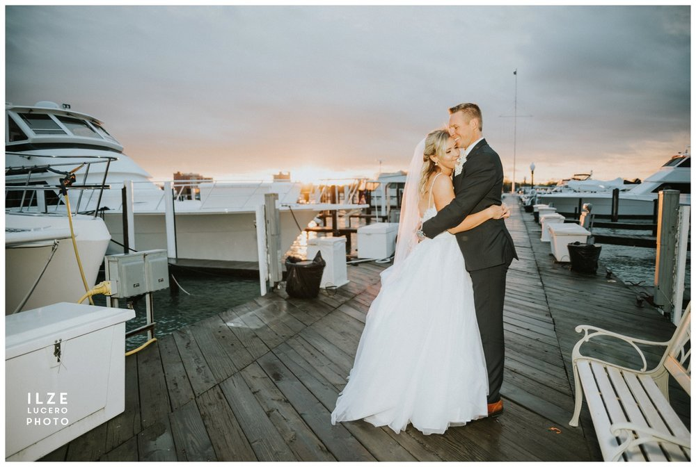 Belle Isle Yacht Club Wedding sunset