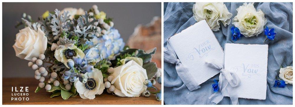 Anemones and Garden roses for Blue Boho Wedding