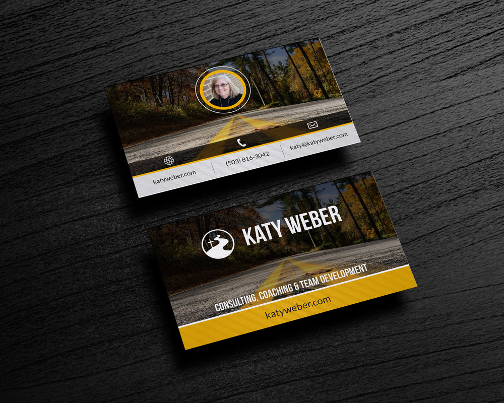 Katy weber tyler penner business card mockup on wooden backgroundg reheart Choice Image