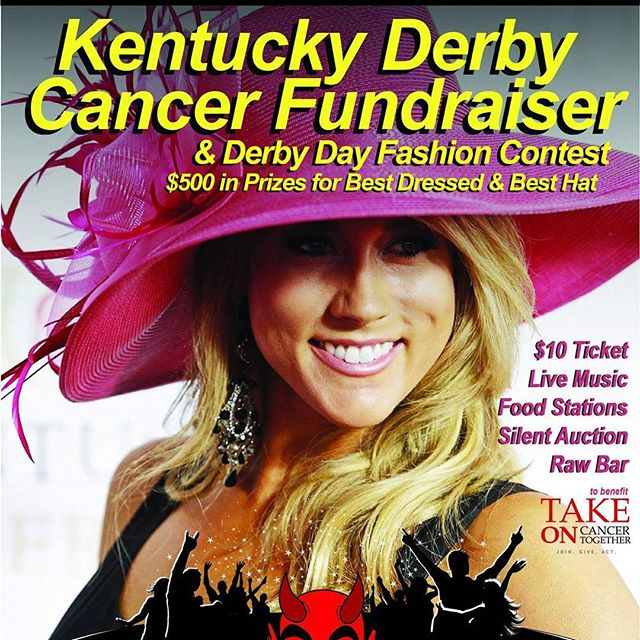 Our 16th Annual Kentucky Derby Cancer Fundraiser starts at 4PM. Great silent auction items, 10 yummy food stations, The Relatives live on stage, and $500 in prizes for best Derby outfit and best hat!  Plus the 143rd running of the Kentucky Derby.  #letsraisesomemoney