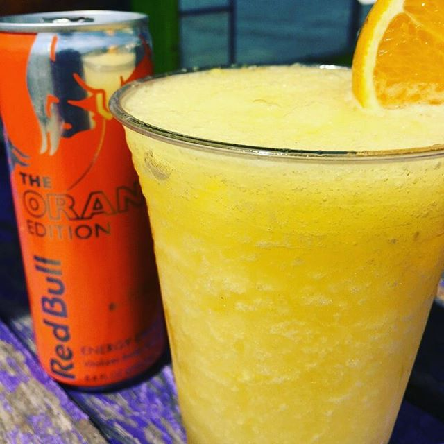 Dewey Devil, we'd like to introduce you to the Orange Angel, a frozen orange crush.  Want wings on that Angel?  Just add an Orange Red Bull Floater!  We just tried the sample batch. They're actually as delicious as they sound. [And yes, we too see another mascot in our future.] Open at 4PM tomorrow.  Free tacos.  @stealtheskyband at 6PM.  @djredfox @djandrewhugh  #newideaseveryyear #stepoutside #getfamiliar #isthisreallife #homeofthefrozencrush #homeofsomanythings