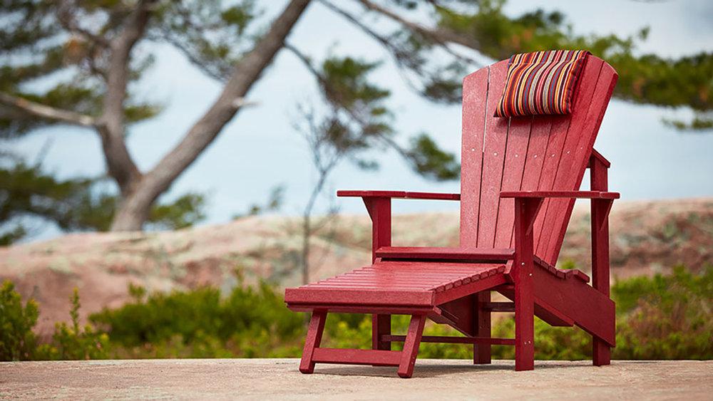 CR Plastics - Adirondack Chair w/Pullout Footstool