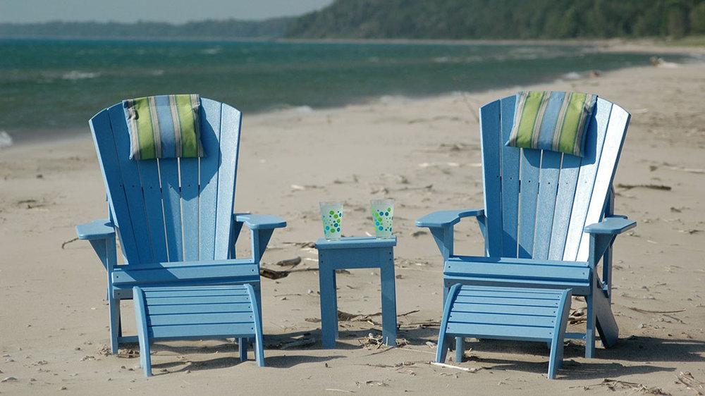 CR Plastics - Classic Adirondack Chairs w/Foot Stools
