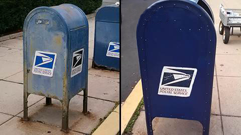 Before and after mailbox restoration