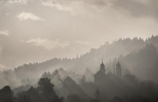 Foggy town landscape