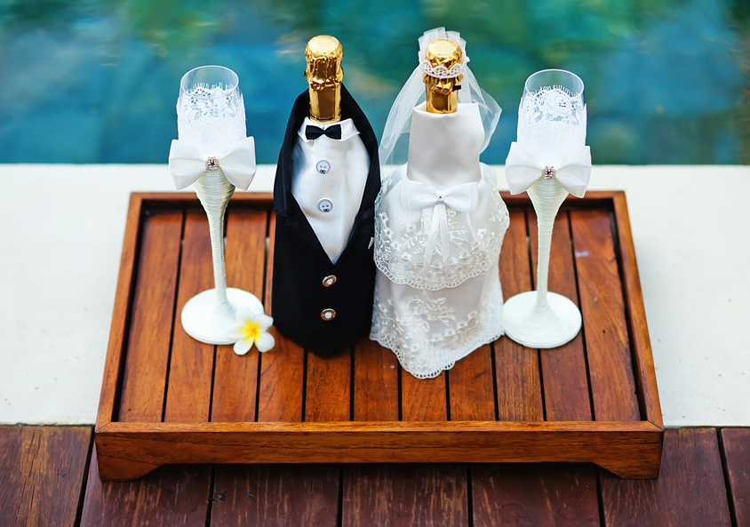 Champagne bottles decoration for wedding day