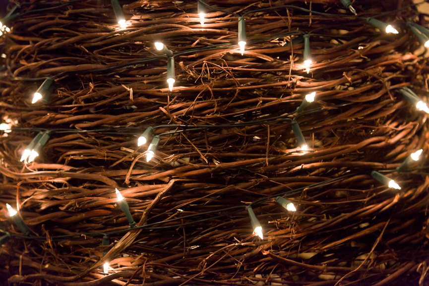 Christmas lights in woven wooden branches.