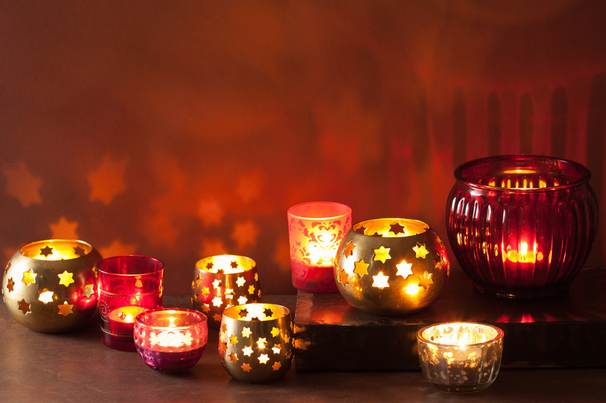 burning christmas lanterns and decoration lights background