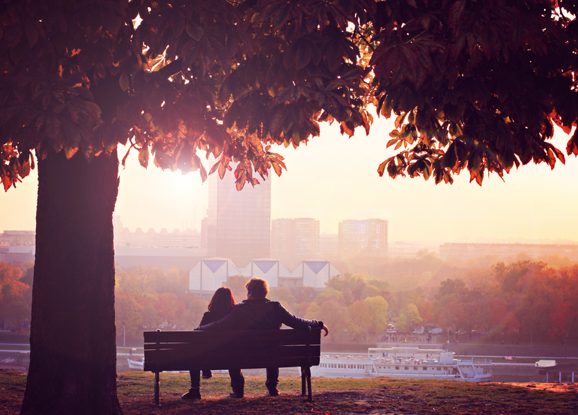 Romantic couple in autumn dawn