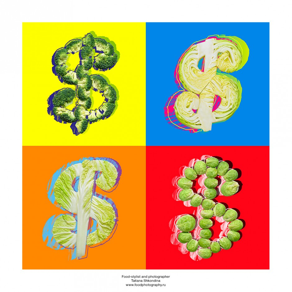 "Andy Warhol. Cabbages (in Russia ""cabbage"" means piles of banknotes)"