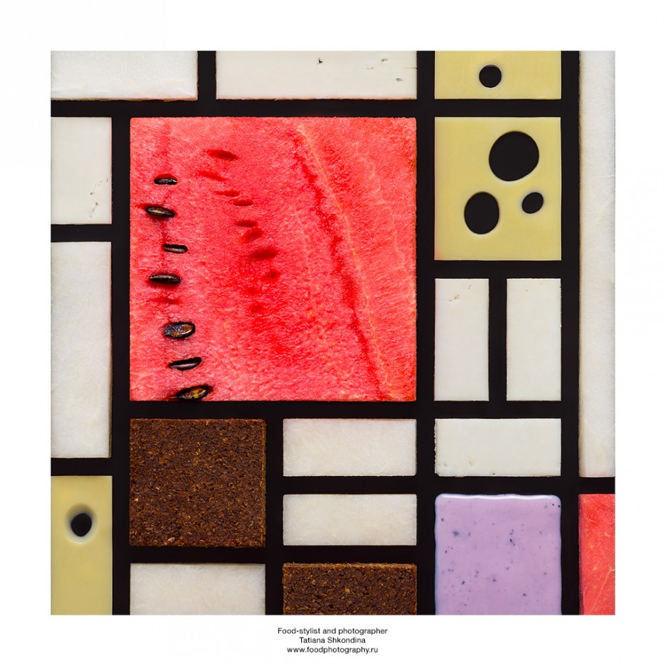 Piet Mondrian. Watermelon, cheese, yoghurt, chocolate