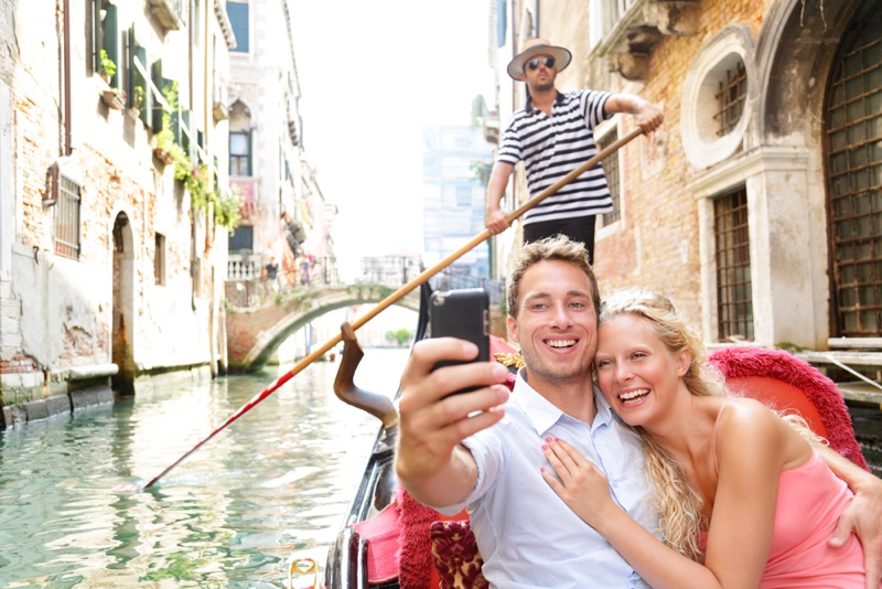 Couple in Venice on Gondole ride romance