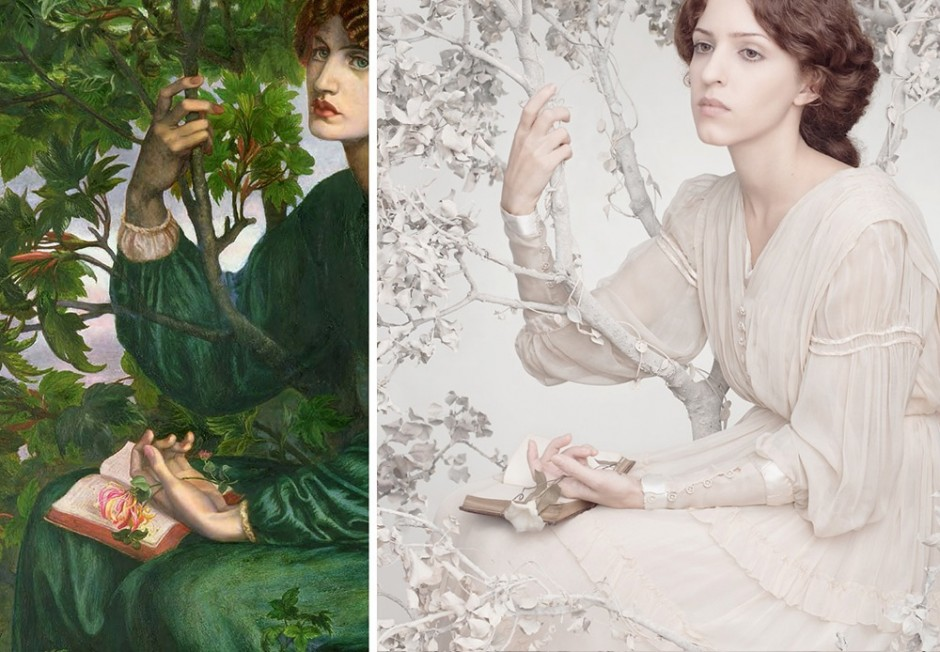 "Dante Gabriel Rossetti, ""The Day Dream,"" 1880, oil on canvas, remake by Tania Brassesco and Lazlo Passi Norberto"