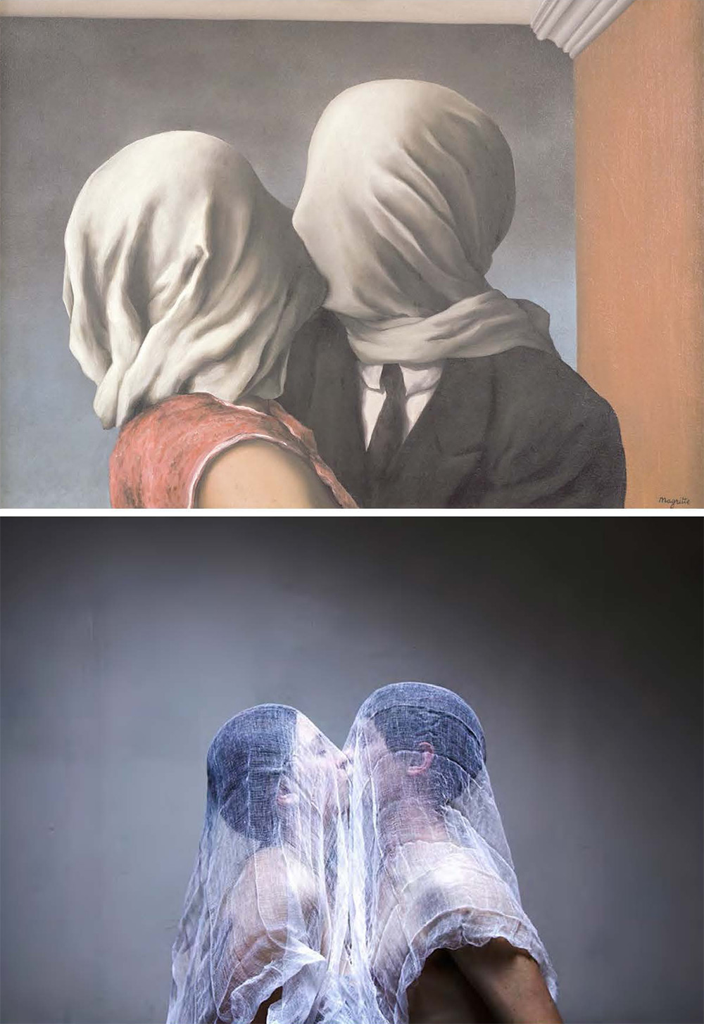 "Rene Magritte, ""The Lovers,"" 1928, oil on canvas, remake by Linda Cieniawska"