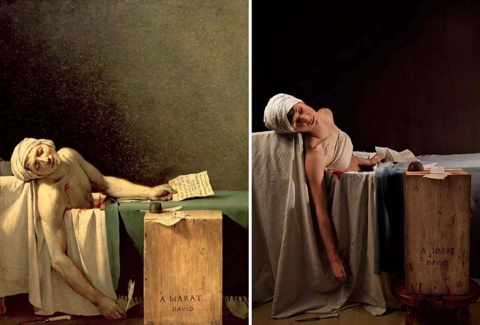 "Jacques Louis David, ""The Death of Marat,"" 1793, oil on canvas, remake by Adrianne Adelle"