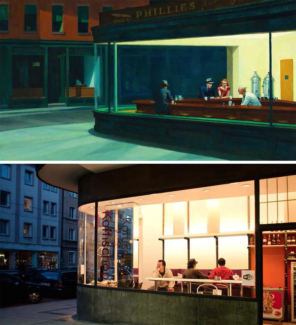 "Edward Hopper, ""Nighthawks,"" 1942, oil on canvas, remake by Bastian Vice and Jiji Seabird"