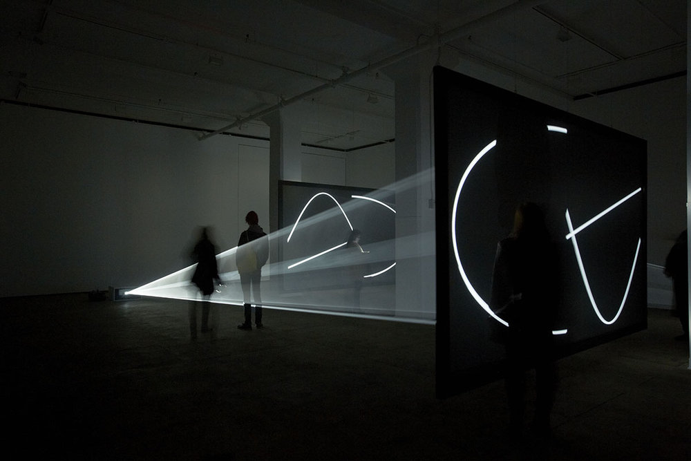 "Anthony McCall. ""Face to Face"" (2013).  Installation view at Sean Kelly Gallery, New York, 2013.  Photograph by Jason Wyche."