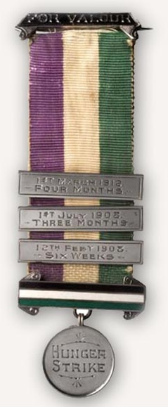 This Hunger Strike Medal in ribbon with enameled bar documents the lengths of the recipient's strikes