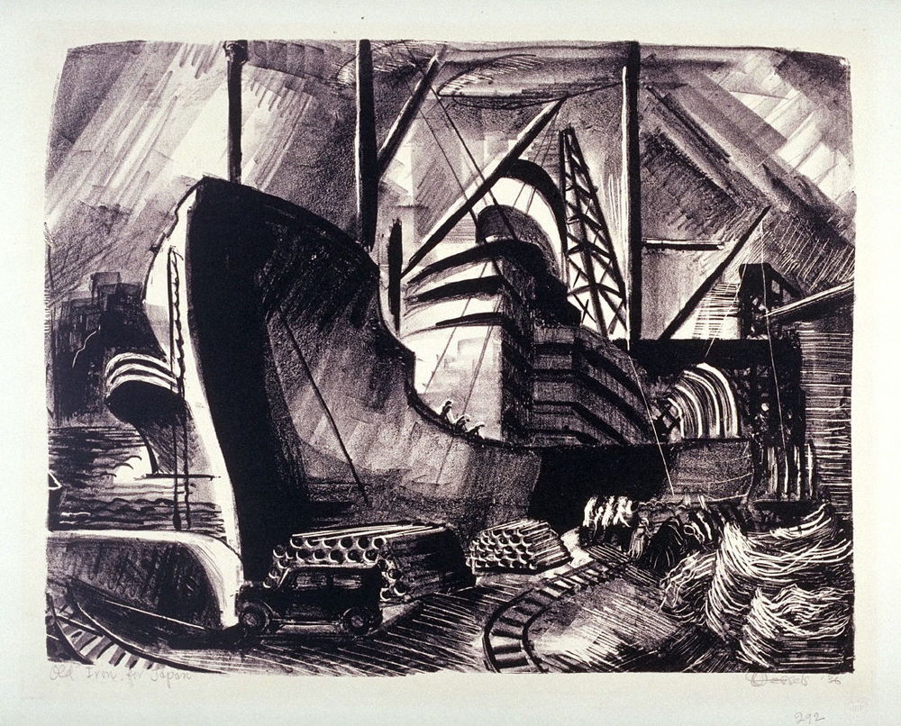 Old Iron for Japan, by Glenn Anthony Wessels.  1936 lithograph on paper