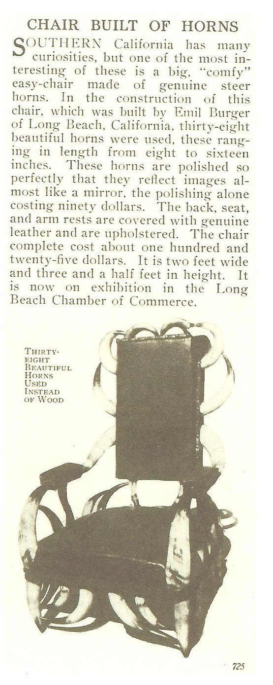 This 38 horn chair was exhibited in the Long Beach, Ca Chamber of Commerce in 1914