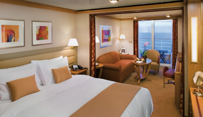 The Verandah Suites are lovely and spacious.We loved having a glass of wine on our balcony as we pulled out of port.These rooms can also be configured with 2 twin beds, which is what we had in our stateroom.