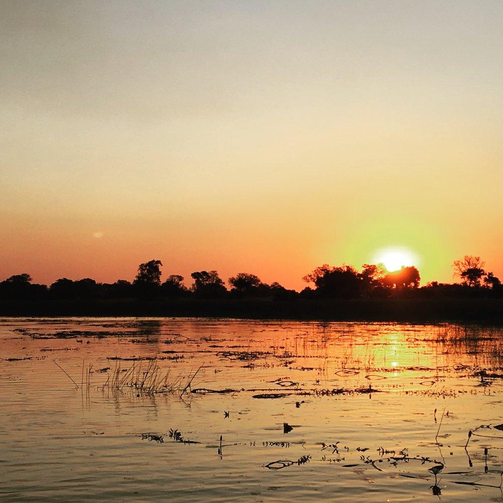 Sunset at Xaranna Camp, Okavango Delta, Botswana