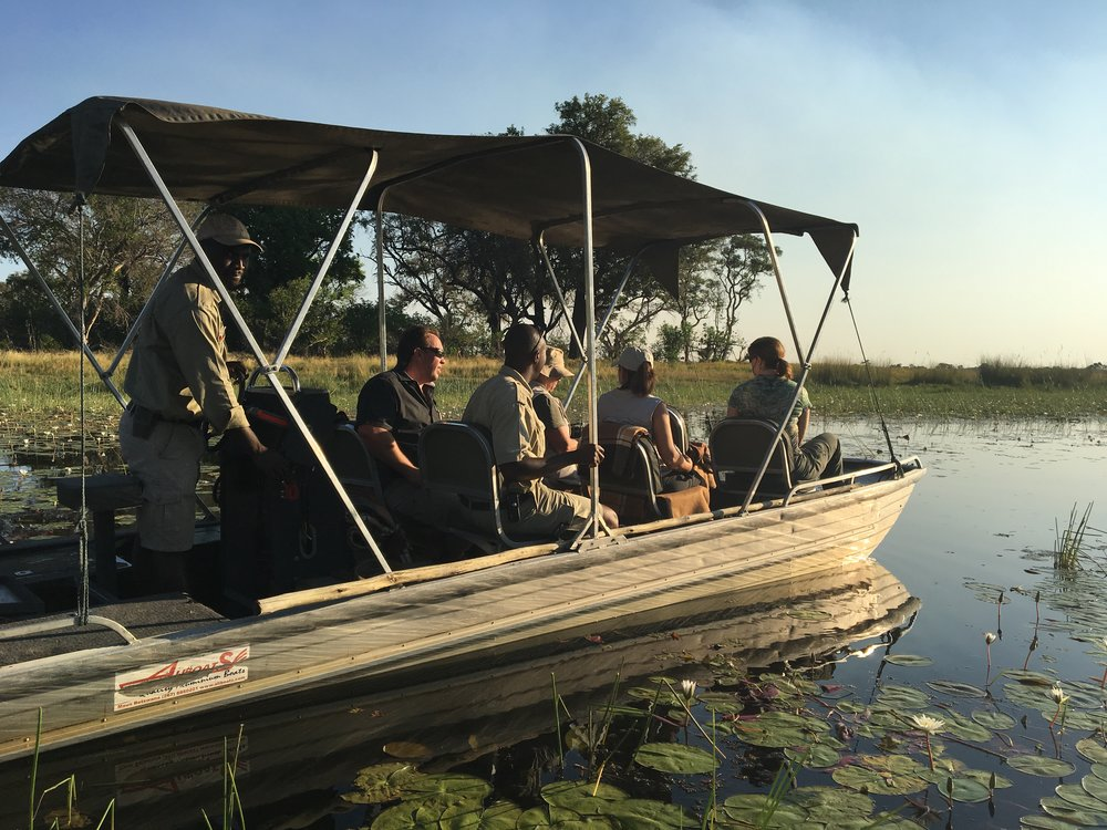 Trade in a land rover for a motorboat to get around the river ways of the Okavango Delta.