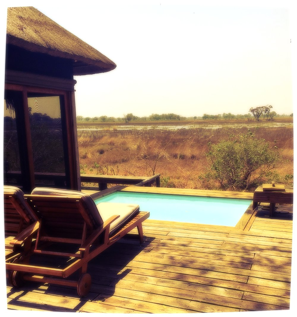 Plunge pool at Vumbura Plains Camp in Botswana. During the wet season, the entire plain is flooded and rich with wildlife, including hippos, elephants and incredible birds.