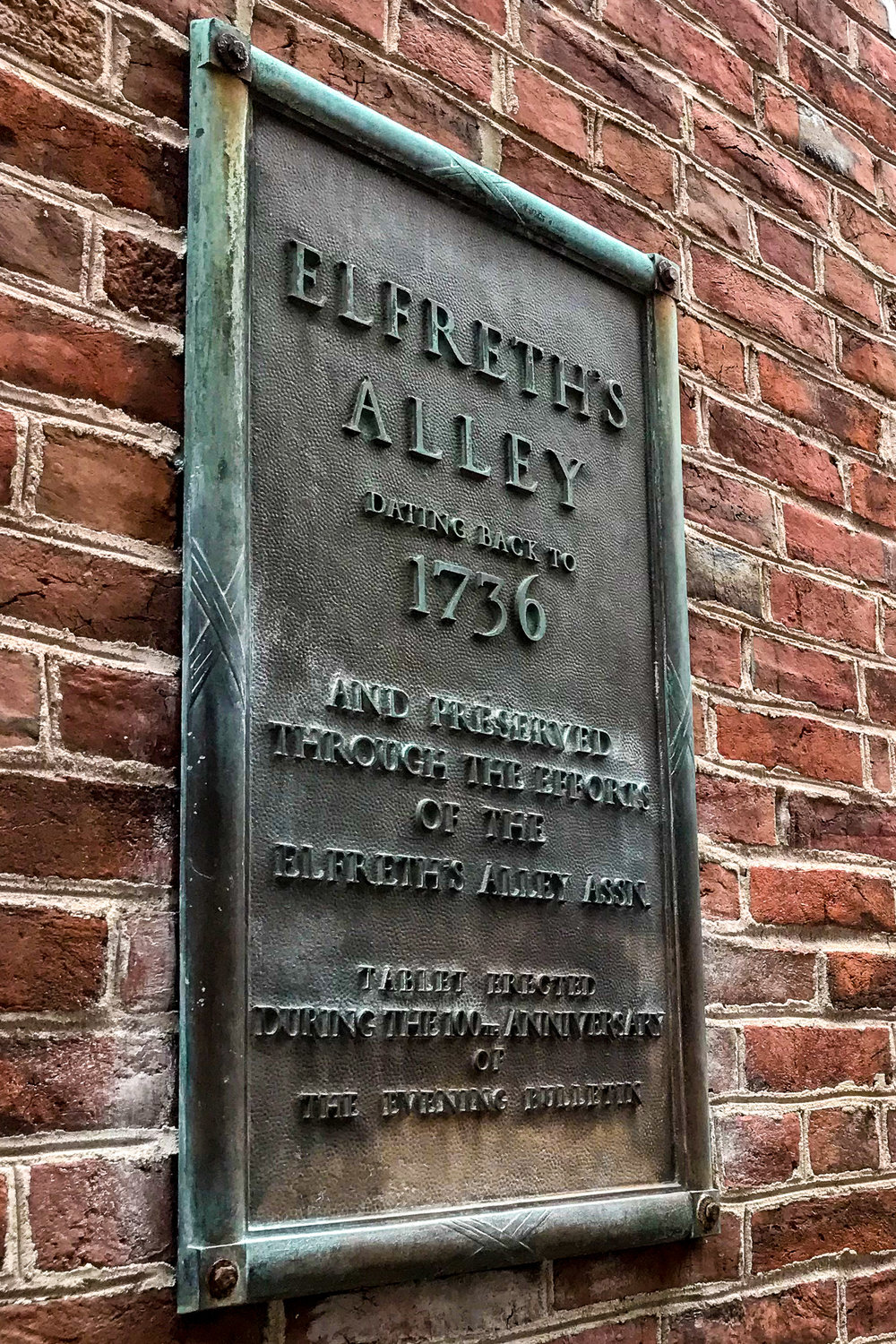 Elfreth's Alley Plaque, Philadelphia, PA