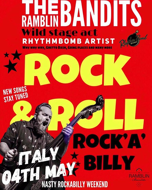 "Ramblin bandits Nasty Rockabilly weekend 04th  May in Italy  #ramblinbandits #rhythmbombrecords #rockstarecords  FINALMENTE CI SIAMO CAZZOOOOOOOO NASTY ROCKABILLY WEEKEND N12 ""summer edition"" --------------------------FREE ENTRY------------------------- ----------FRIDAY 17 open 19:00 -LIVE ON STAGE: THE DOEL BROTHERS from UK www.facebook.com/doelbros/ DON CAVALLI from FRANCE www.facebook.com/offjumpstheDon/ THE RAMBLIN BANDITS from DENMARK www.facebook.com/ramblinbandits/ -ALL NIGHT Record Hop only Vinil 45 with: DJ GREASEMAN DJ ALADINO DJ BRONCO BOOBALOOGA ------SATURDAY 18 open 14:00 -LIVE ON STAGE: THE PLAYBOYS from UK www.facebook.com/offjumpstheDon/ JACK RABBIT SLIM from UK www.facebook.com/Jack-Rabbit-Slim-100814773342335/ DON DIEGO TRIO from ITALY www.facebook.com/dondiegoproject/ -ALL NIGHT Record Hop only Vinil 45 with: DJ GREASEMAN DJ ALADINO DJ BRONCO BOOBALOOGA --------SUNDAY 19 open 12:00 WITH THE NASTY LUNCH & FLEA MARKET VINTAGE & OLD THINGS -LIVE ON STAGE : THE WESTERN SPAGHETTI & FRIENDS (DOC PUKY from RAY COLLINS HOT CLUB , MARCO PANDOLFI & VERONICA SBERGIA) from ITALY/GERMANY  Record Hop only Vinil 45 with: DJ GREASEMAN DJ ALADINO DJ BRONCO BOOBALOOGA Nasty Rockabilly weekend N12"