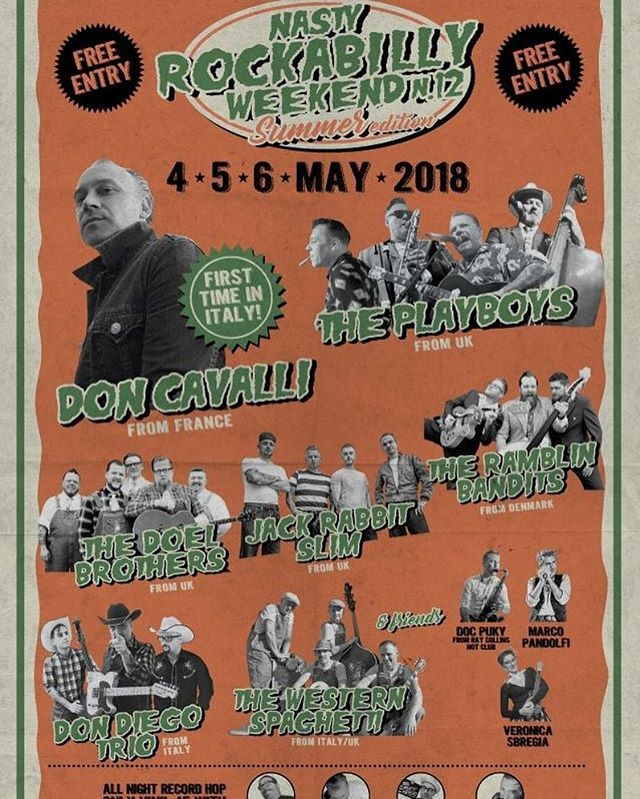 Ramblin bandits Italy Nasty Rockabilly weekender  #ramblinbandits #donjuanpomade #koolsvilleshopping #koolsville  Don Juan #pomadeshop  #rhythmbombrecords #rockstarrecords  #thenocturnebrain #nocturne #mysterybrain #dixieland_danmark #denmark #hepcatstore #sweden #rockabilly #rockabillymusic #rockabillyhair #rockabillylife #rockabillyculture #rocknroll #rocknrollmusic #rocknrollstyle #tattoo #rockabillytattoos #rockabillyrebel #rockabillylifestyle #rockabillyweekend #rockabillyweekender #rockabillyrave #highrockabilly2017