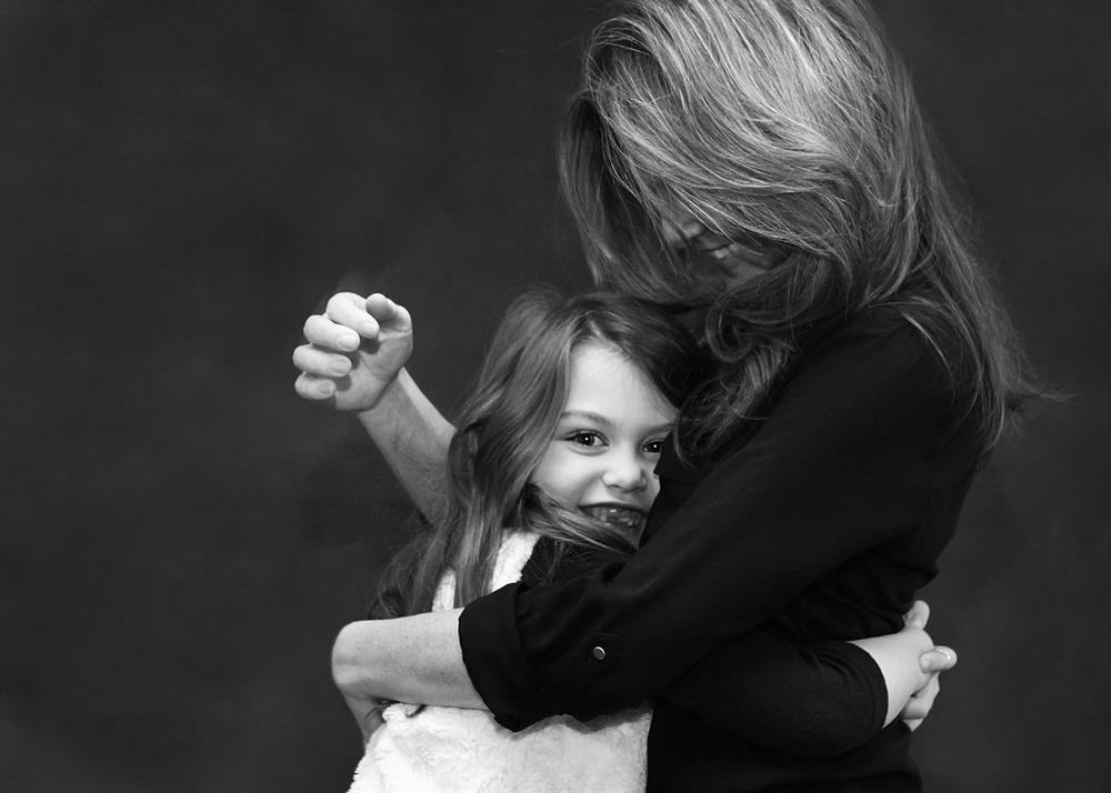 Mother daughter portrait black and white studio New York City.jpg