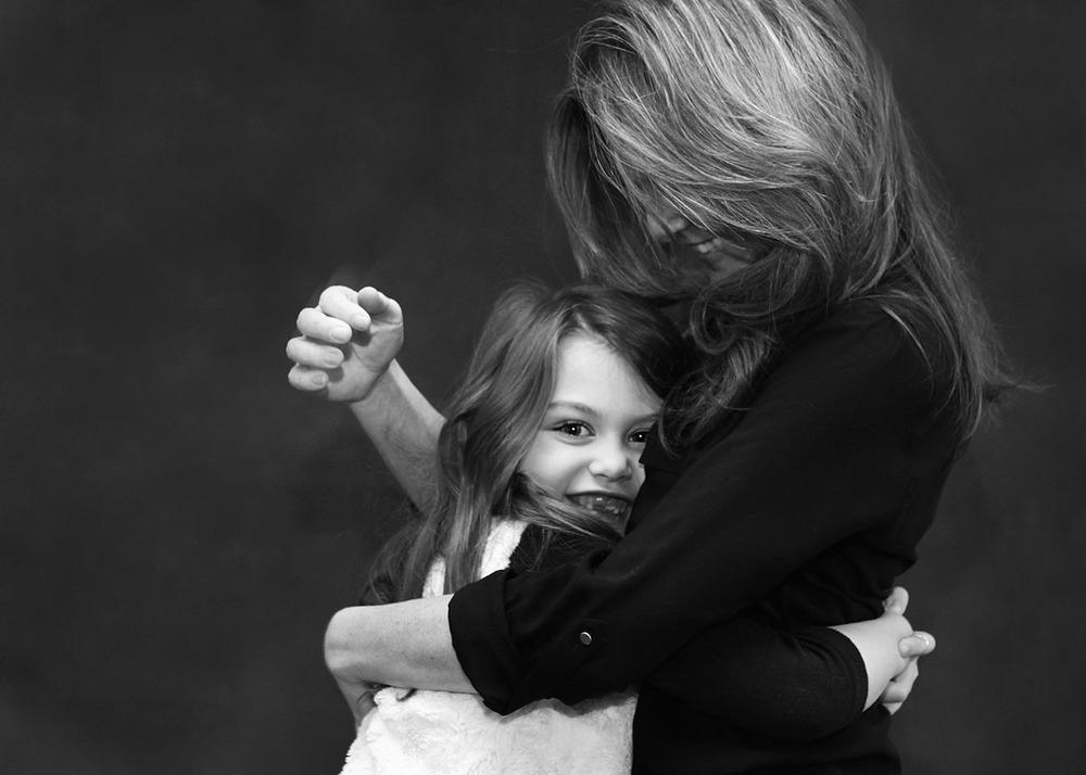 Mother daughter portrait black and white studio New York City.jpg
