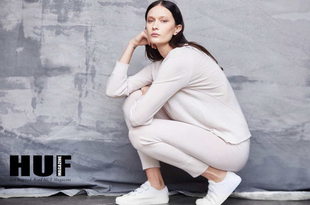 cashmere sweater & cashmere jogger featured in HUF Magazine | art dept. clothing