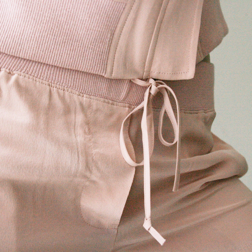Silk Bomber Jacket & Silk Shorts blush | art dept. clothing