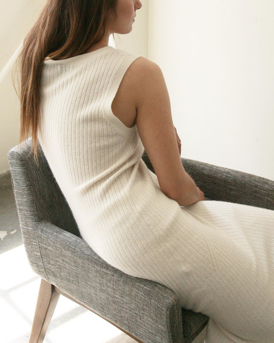 All white ribbed dress, Fall 2017 | art dept clothing