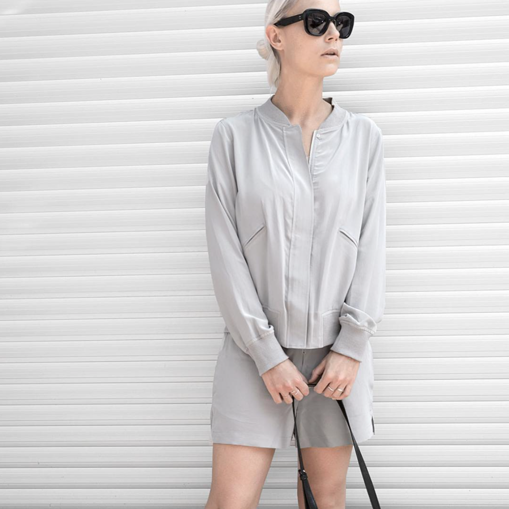 sterling silk bomber & short as seen on @linesmanner