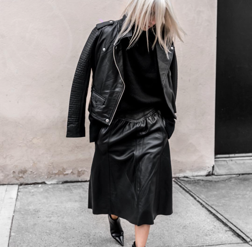 @figtny wearing the Leather Moto Jacket & Leather Skirt in Black | #artdeptclothing