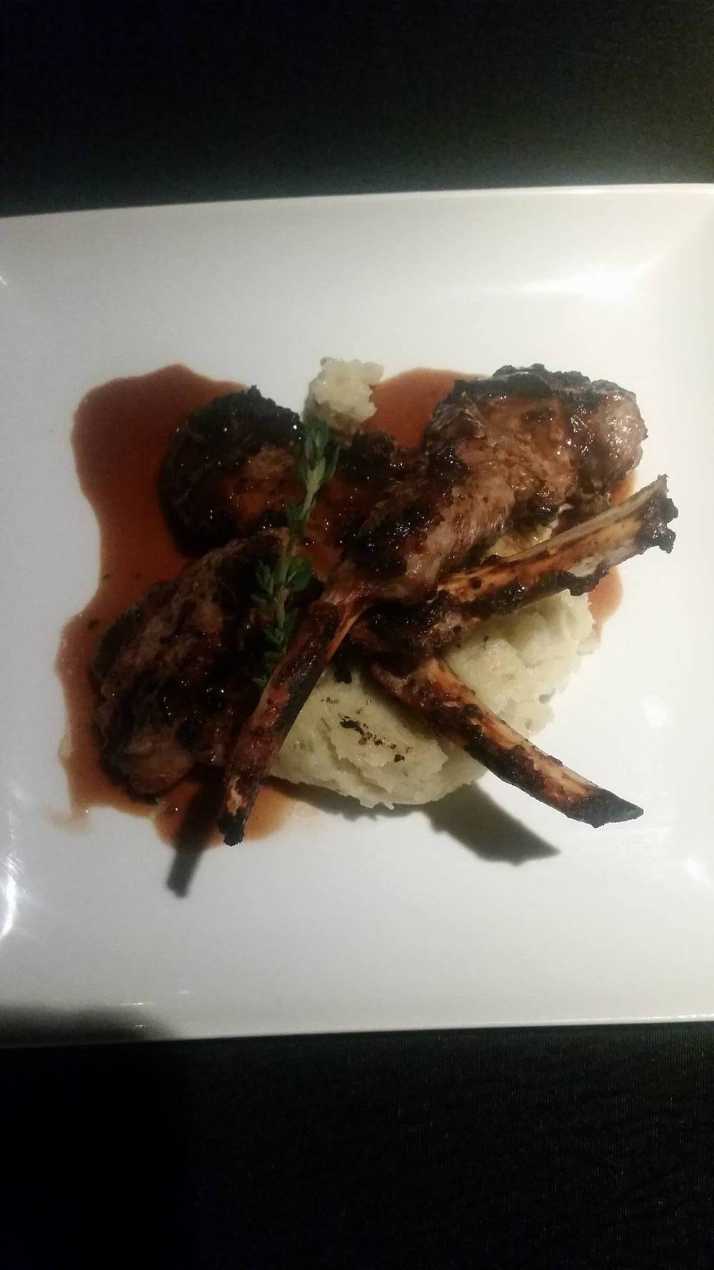 Lamb chops with mashed potatoes. I could've eaten this all night, too.