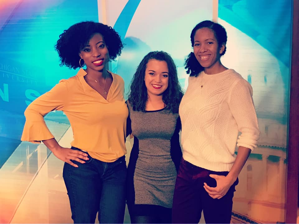 I'm not the first curly girl here. Dana Whyte (middle) started wearing her natural hair on air in Lansing months before I got here. Same goes for Rae (right), who started on the same day as me.