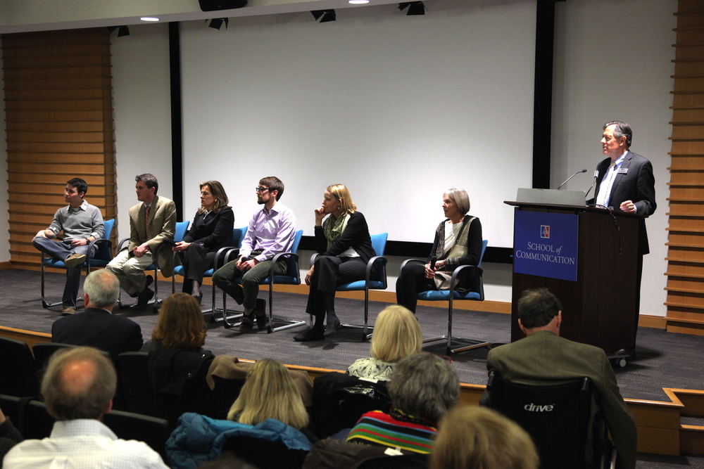 Panelists from left to right: Editor  Adam Lee ;  Mike Kane  from the Piedmont Environmental Council;  Cate Wyatt , character and former Secretary of Commerce and Trade for the Commonwealth of Virginia; Producer and Director  Sam Sheline ;  Tracey Shafroth , character and former Director of the Prince Charitable Trusts; and  Kristin Pauly , Executive Producer. The panel was moderated by  Chris Palmer , Executive Director of the film, and Director of American University's Center for Environmental Filmmaking.