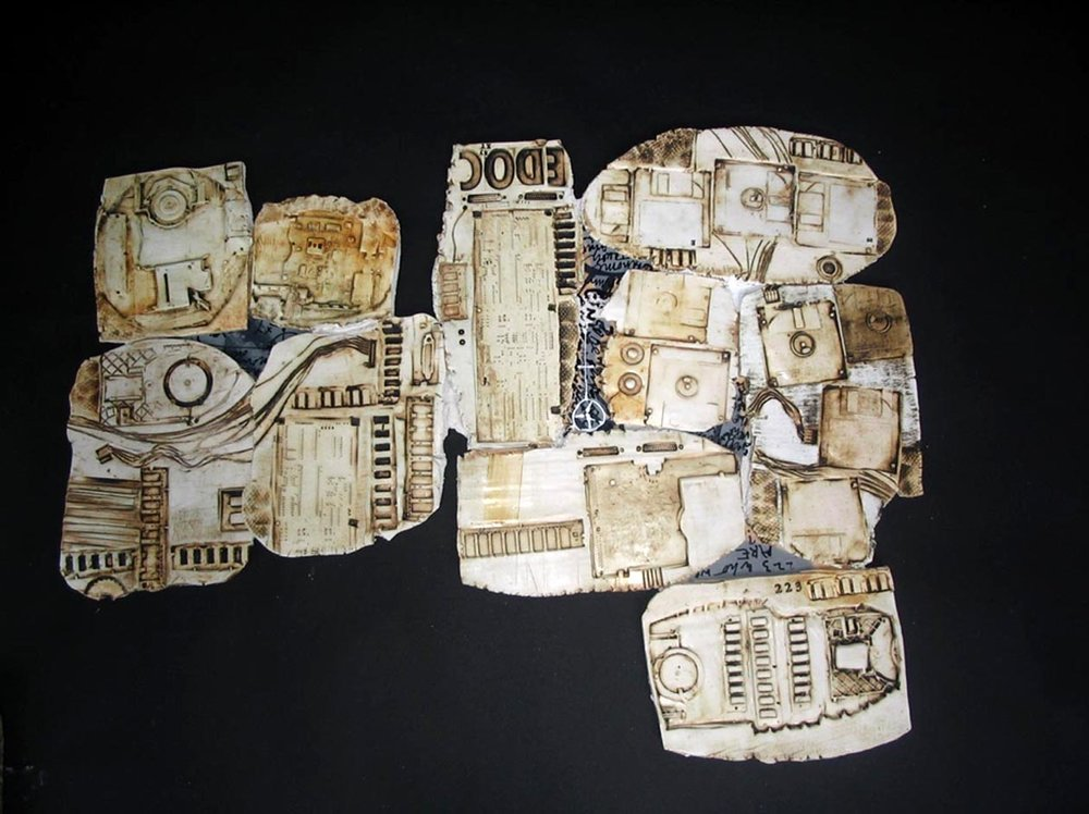 MFA thesis, Kristina Bogdanov, Untitled from the series EVE'S CODE, earthenware, relief printing on clay, 2006.